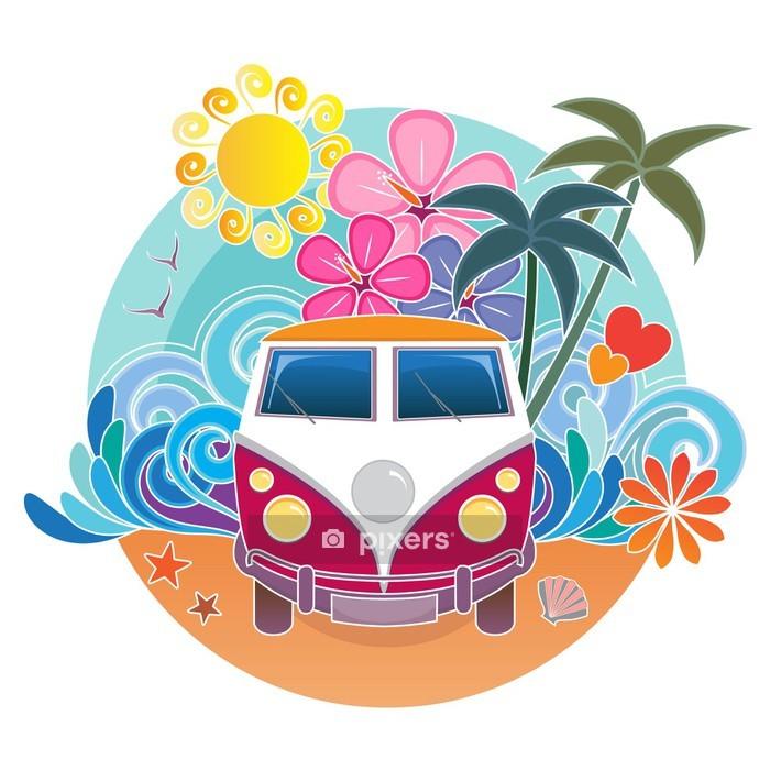 Adesivo da Parete VW surf campeggiatore furgone d'epoca - Palme