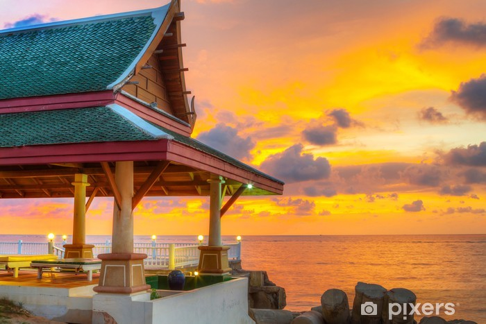 Oriental Thai architecture on the beach at sunset Vinyl Wall Mural - Asia