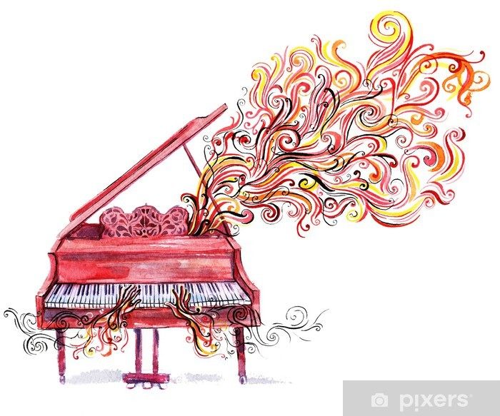 Papier peint vinyle Musique piano - Piano à queue