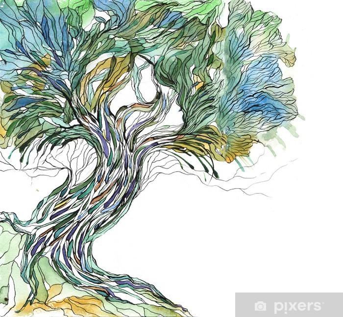 Vanha puu Pixerstick tarra - Tiede Ja Luonto