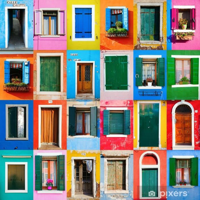 Vinyl Fotobehang Collage van deuren en vensters van Burano - iStaging