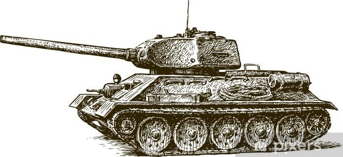 Tank T-34 Pixerstick Sticker - Themes