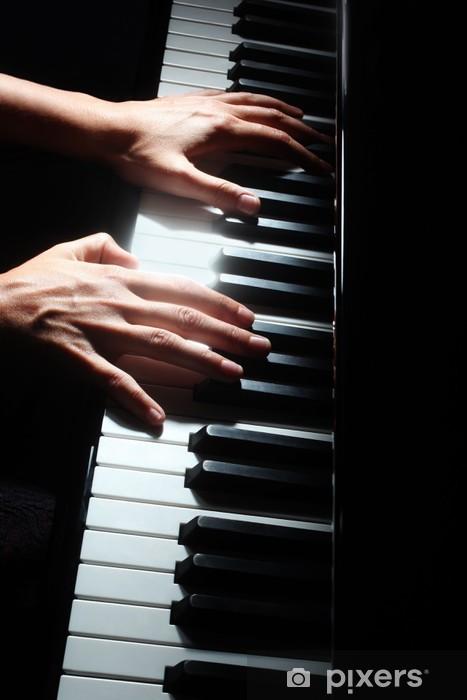 Naklejka Pixerstick Klawisze klawiatury fortepianu ręce pianisty - Muzyka