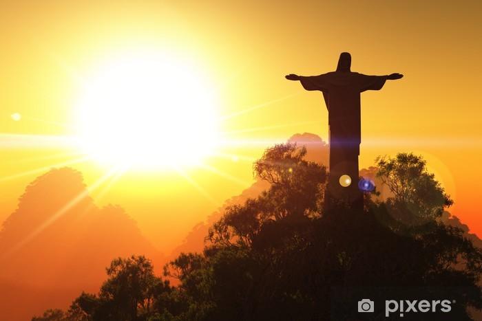Sticker Pixerstick Corcovado dans le Sunset 3D render - Brésil