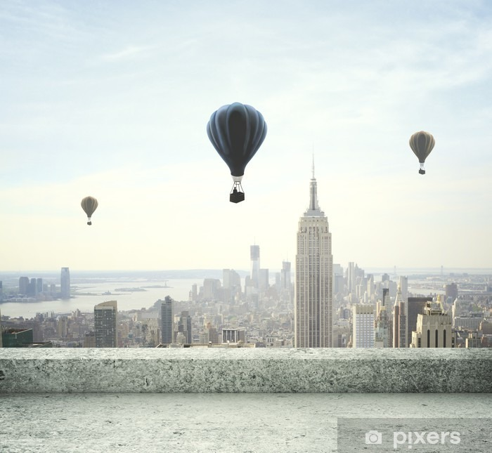 air balloon on sky Vinyl Wall Mural - Themes