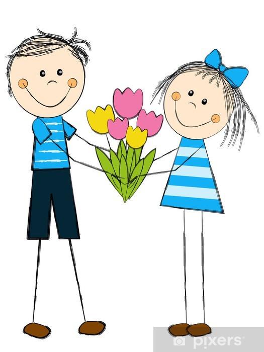 Fototapeta Chłopiec I Dziewczynka Z Kwiatami Pixers żyjemy By Zmieniać