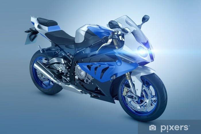 Vinyl Fotobehang Blue Sport Motorfiets - Onderweg