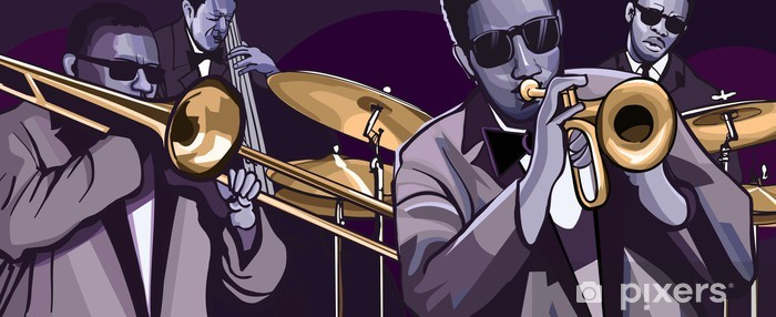 jazz band with trombonne trumpet double bass and drum Vinyl Wall Mural - Jazz