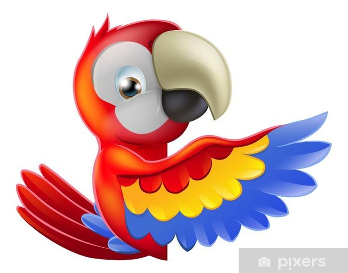 Fototapeta winylowa Czerwona papuga kreskówek wskazującego - Naklejki na ścianę
