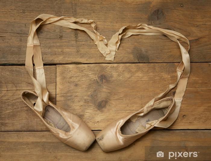 Pair of Ballet Shoes on Wooden Floor Pixerstick Sticker - Ballet