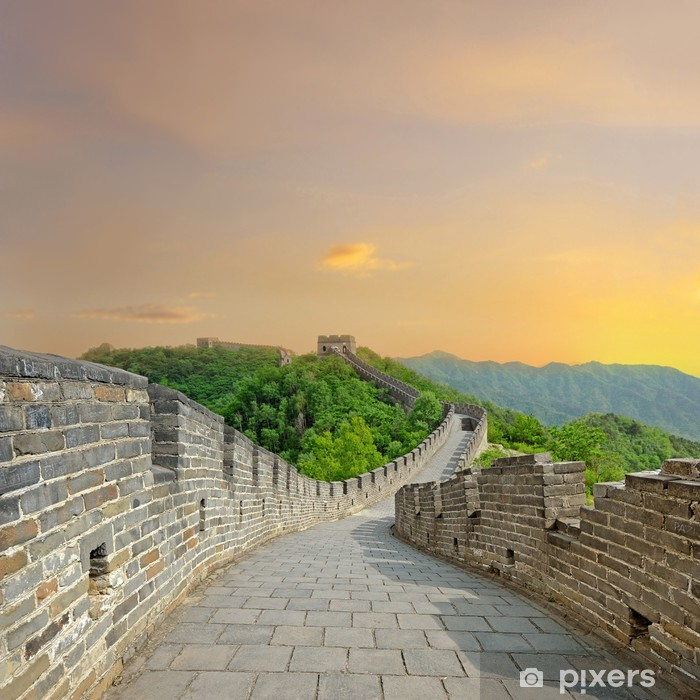 Great Wall of China during sunset Vinyl Wall Mural - Asian Cities
