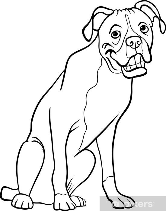 çıkartması Boyama Kitabı Için Boksör Köpek Karikatür Pixerstick