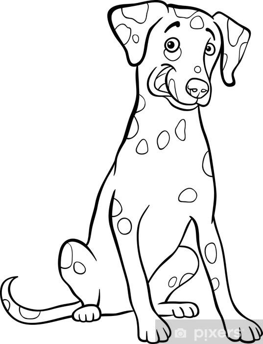 Boyama Kitabı Için Dalmaçyalı Köpek Karikatür çıkartması Pixerstick
