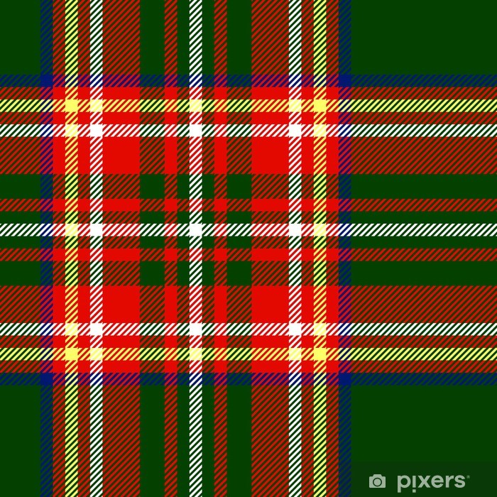 Traditional tartan fabric seamless pattern in green, vector Poster - Styles