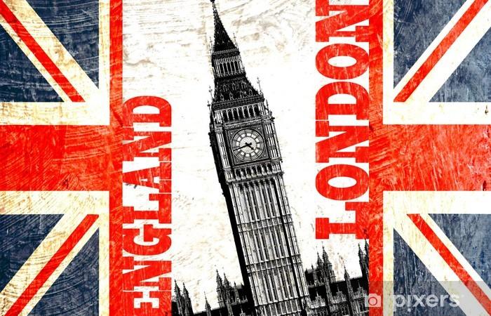 Naklejka na lodówkę Flag English wyciąć z pisania i Big Ben w Londynie w Anglii - Miasta europejskie