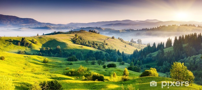 Green hills and mountains in the distance Self-Adhesive Wall Mural - Themes