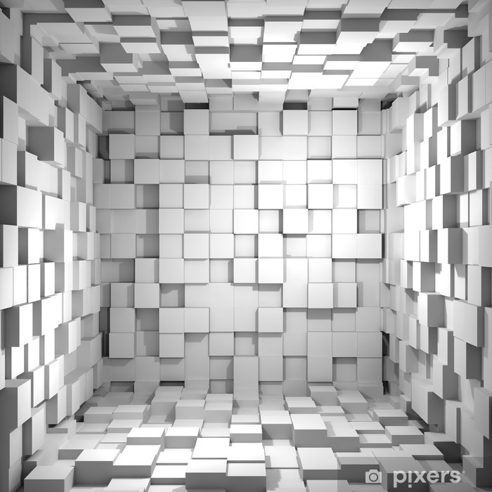 Cube room 3d - background Vinyl Wall Mural - iStaging