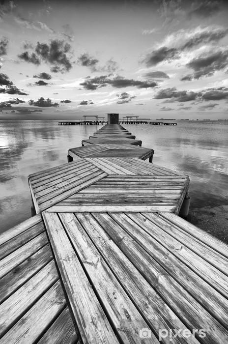 Vinil Duvar Resmi Siyah ve beyaz Zig Zag dok -