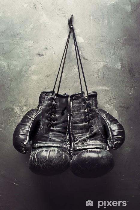 old boxing gloves hang on nail Vinyl Wall Mural - Themes
