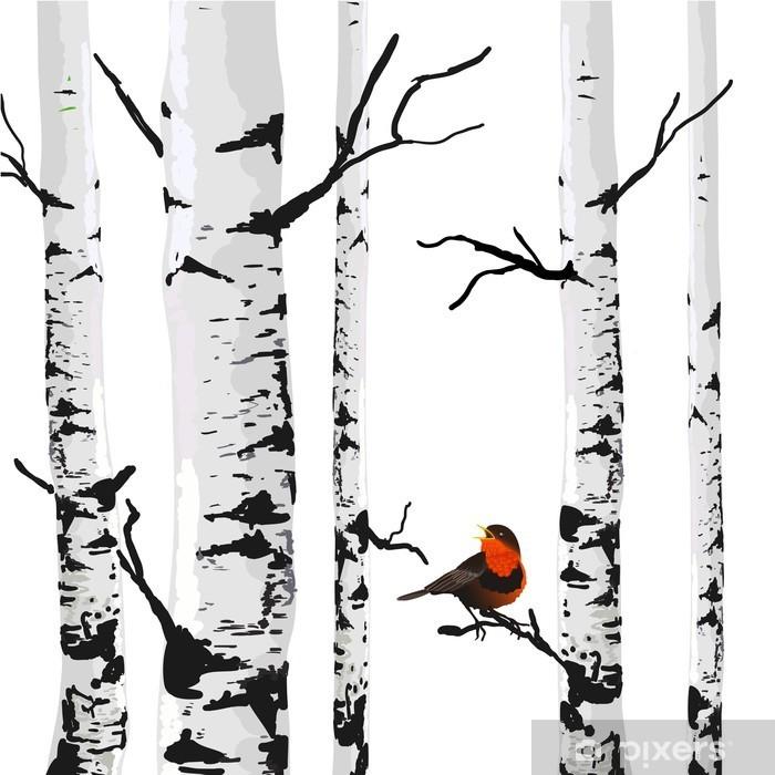 Fotomural Lavable Aves de abedules, dibujo vectorial con elementos editables. - negocios