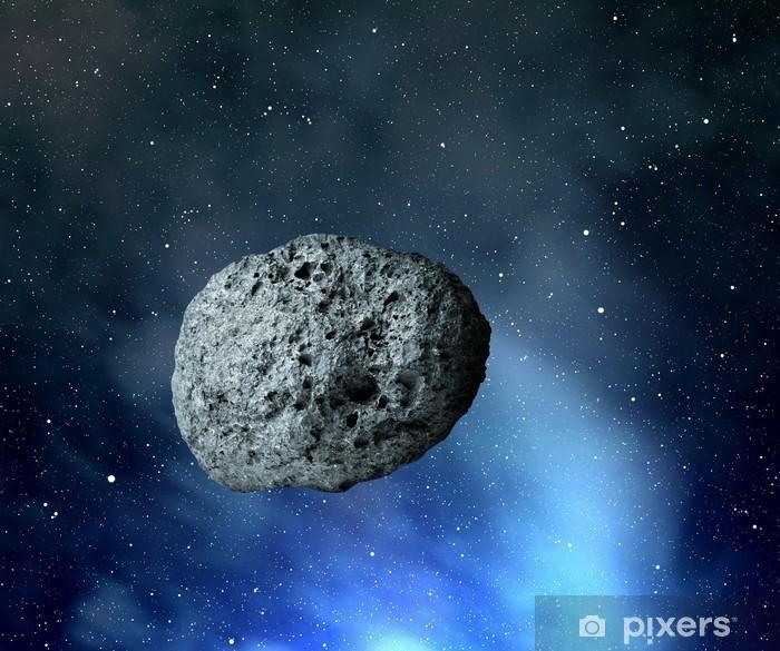 Poster Großen Asteroiden fliegen im Universum - Weltall