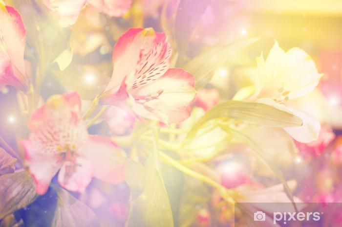 Naklejka Pixerstick Abstrakcyjna kwiat. kwiaty wykonane z kolorowych filtrów - Style