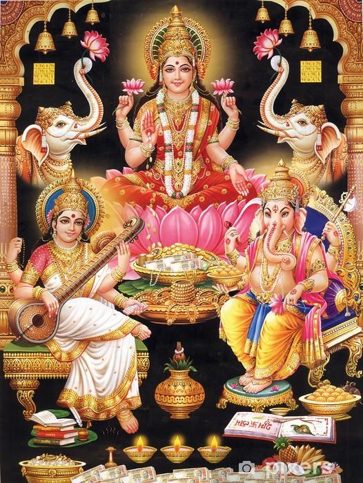 Selbstklebende Fototapete INDIAN GODESS MAA LAKSHMI MIT MAA Saraswati und GANESH JI - Öffentliche Gebäude