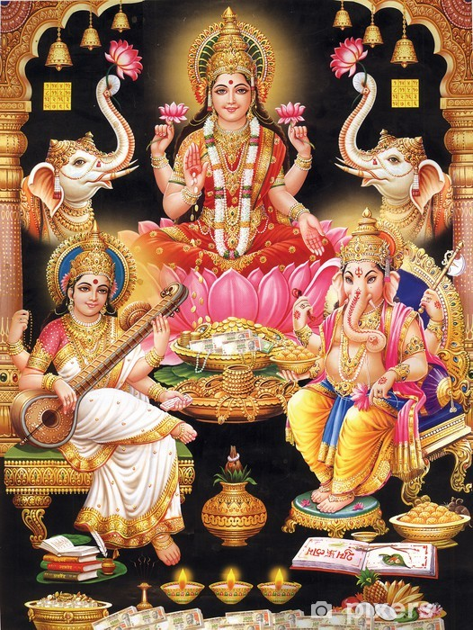 INDIAN GODESS MAA LAKSHMI WITH MAA SARASWATI AND GANESH JI Vinyl Wall Mural - Public Buildings