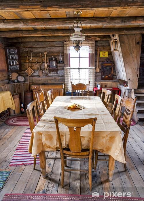 Fototapete Esszimmer Tisch Und Stuhle In Einem Blockhaus Pixers