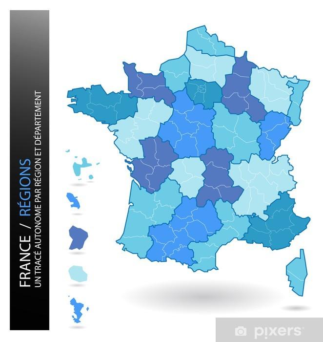 Frankreich Departements Karte.Aufkleber Frankreich Karte Muette Régions Et Départements Pixerstick