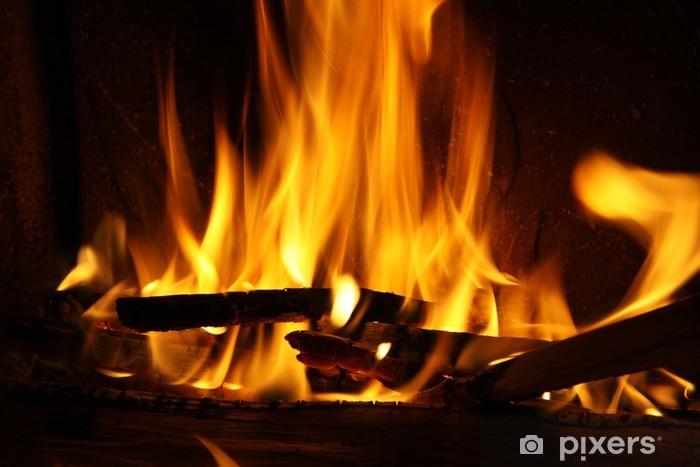 Nálepka Pixerstick Oheň v krbu, oheň plameny na černém pozadí - Přírodní katastrofy