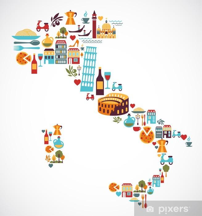Italia Cartina Vettoriale.Carta Da Parati Italia Mappa Con Icone Vettoriali Pixers Viviamo Per Il Cambiamento