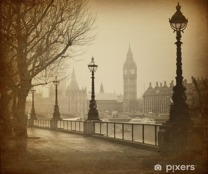 Vintage Retro Picture of Big Ben / Houses of Parliament (London) Pixerstick Sticker - Themes