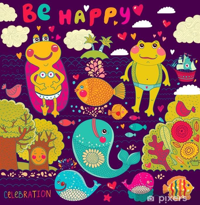 Naklejka Pixerstick Wektor cartoon ilustracji z happy żab - Świętowanie