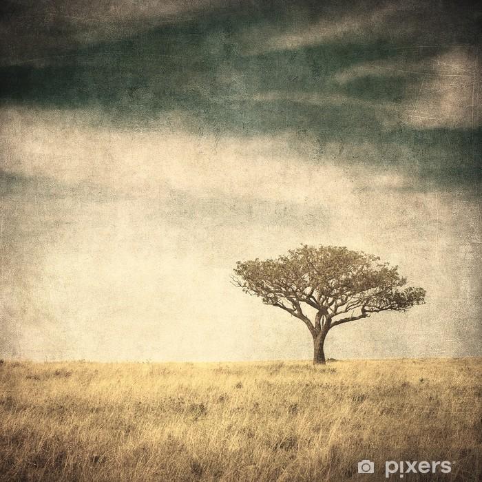 Naklejka Pixerstick Grunge wizerunek drzewa na tle grunge - Drzewa