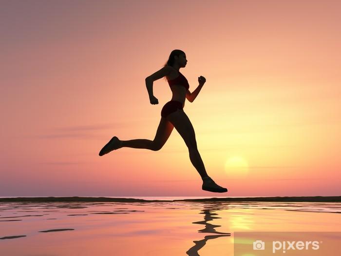 Vinylová fototapeta Žena běží na pláži - Vinylová fototapeta
