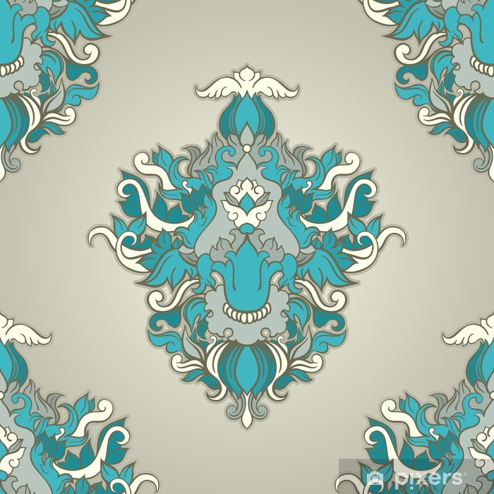 Poster Foliate blauen Muster - Hintergründe