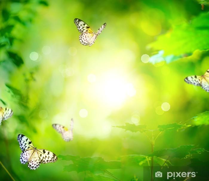Nálepka Pixerstick Krásná příroda jarní zelené pozadí s Butterfly - Témata