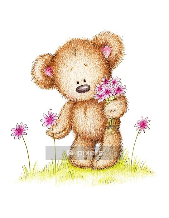 Adesivo da Parete Disegno di orsacchiotto con fiori rosa - Adesivo da parete