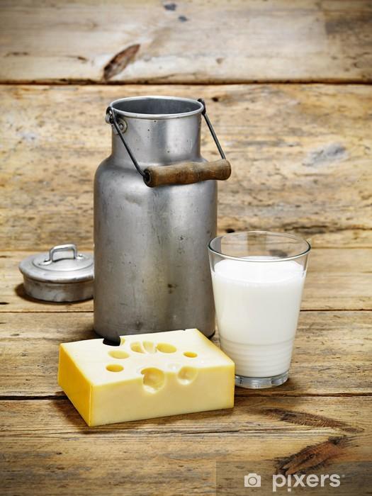 Naklejka Pixerstick Dzbanek mleka z serem - Sery