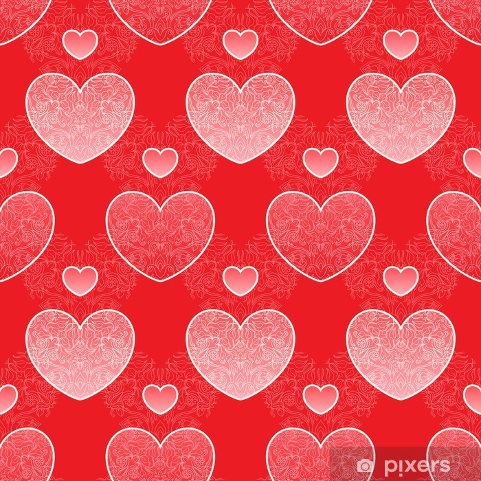 Papier peint vinyle Coeurs floraux - Bonheur