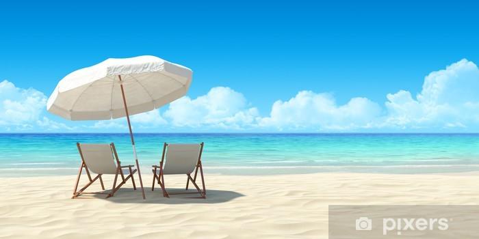 Fototapeta winylowa Szezlong i parasol na piasku plaży. - Tematy