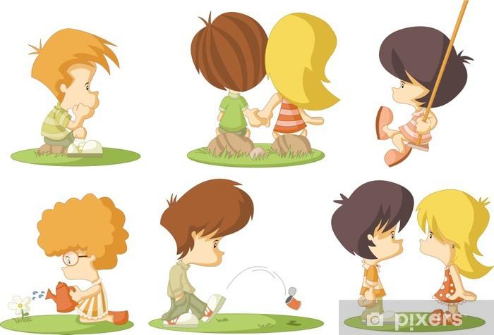 Nalepka Pixerstick Skupina Roztomile Kreslene Deti V Lasce Pixers