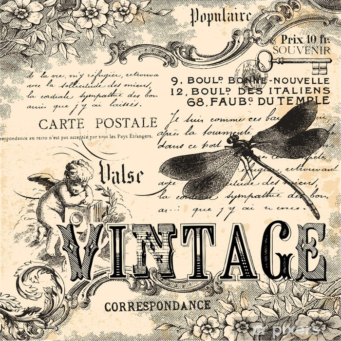 Vintage collage background Vinyl Wall Mural - Styles