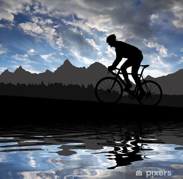 Papier peint vinyle Silhouette du cycliste en vélo de route au coucher du soleil - Cyclisme