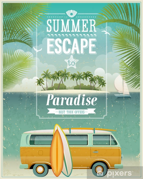 Vintage seaside view poster with surfing van. Vector background. Vinyl Wall Mural - Styles