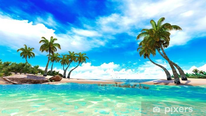Tropical paradise beach Self-Adhesive Wall Mural -