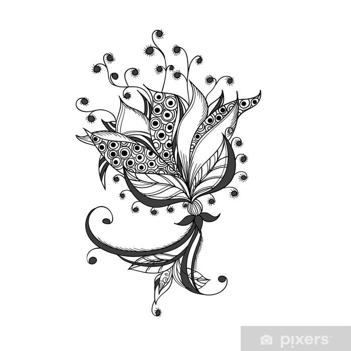 Sticker Fantastique Fleur Noir Et Blanc Motif De Tatouage Pixerstick