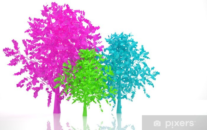 Vinylová fototapeta Abstraktní barevné stromy - Vinylová fototapeta