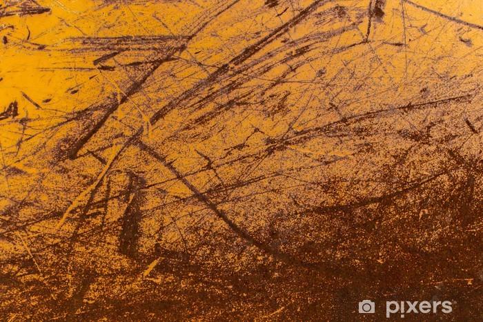 Fotomural Estándar Amarillo desgastado pintado scrached fuera de la textura del metal - Texturas